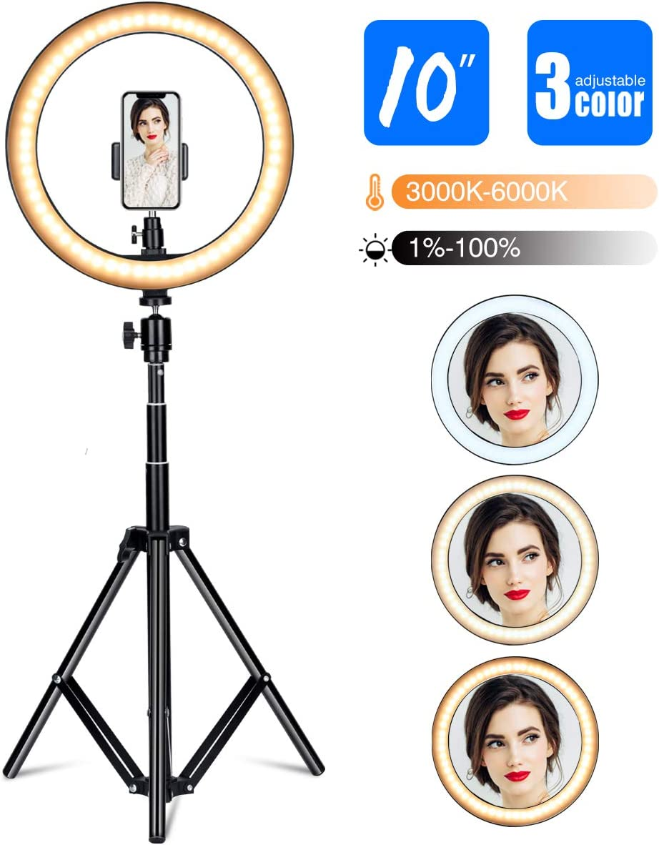 """Gugusure Ring Light, 10"""" Led Ring Light with Tripod Stand & Phone Holder for Live Stream/Make Up/YouTube, Selfie Ring Light with 3 Light Modes and 10 Brightness Level, Compatible with iPhone/Android"""