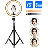 "Gugusure Ring Light, 10"" Led Ring Light with Tripod Stand & Phone Holder for Live Stream/Make Up/YouTube, Selfie Ring Light w"