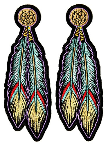 - Leather Supreme Pair of Native Indian Teal Dream Catcher Feathers Biker Patch-Teal-Medium