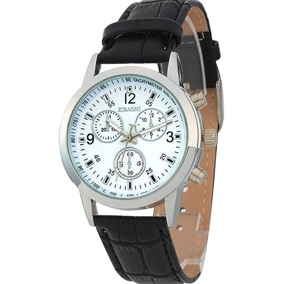 Marca Amor Hombre Relojes de pulsera baratos R Calendario Cuero Condiciones de onda con Th: Amazon.es: Relojes