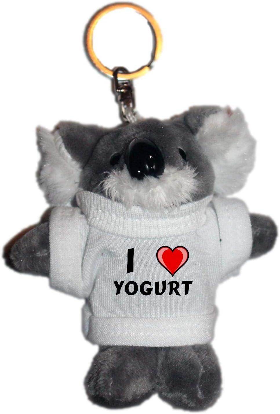 Shopzeus Coala de Peluche (Llavero) con Amo Yogurt en la Camiseta (Nombre de Pila/Apellido/Apodo)