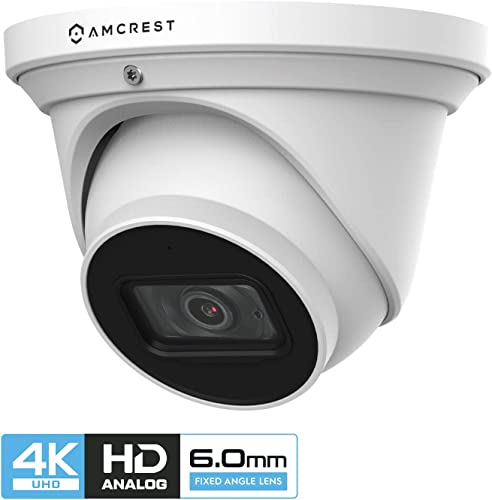 Amcrest ProHD 4K Dome Outdoor Security Camera, 4K 8-Megapixel , Analog Camera, 164ft Night Vision, IP67 Weatherproof Housing, 6mm Lens, 55 Narrow Angle, Built-in Microphone, White AMC4KDM6-W