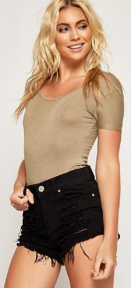 1f4db16ec7 Red Olives® Womens Ladies Plain Cap Sleeve Scoop Neck Leotard Top Stretch T-Shirt  Bodysuit UK 8-14 for Christmas