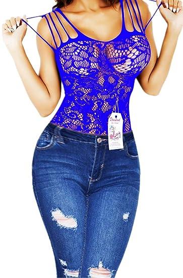 4f430259d8 Daisland Women Sexy Lingerie Fishnet Petite Bodystocking Babydoll Sleepwear  Nighties (Blue