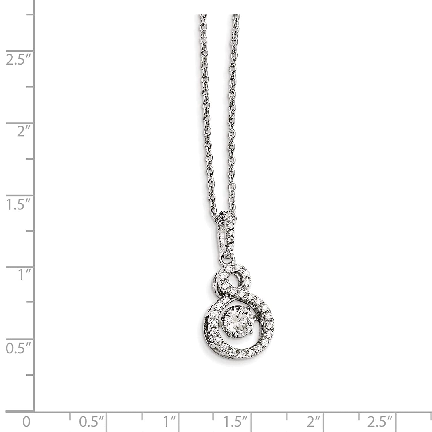 2 Extender Brilliant Embers Sterling Silver Rhodium-plated CZ Infity Symbol Pendant Necklace 18