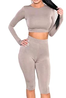 2dedf0ac293 Winwinus Womens Long-Sleeve 2 Piece Casual Bodycon Cropped Short Jumpsuit