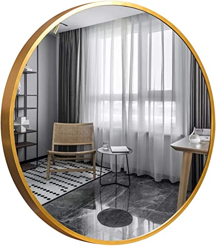Trvone Round Mirror 32 Large Wall Mirror 1.6 Depth Gold Brushed Aluminum Alloy Metal Frame Circle Mirror,Modern Wall-Mounted Mirror for Bedroom,Bathroom,Washroom,Living Room,Entryways