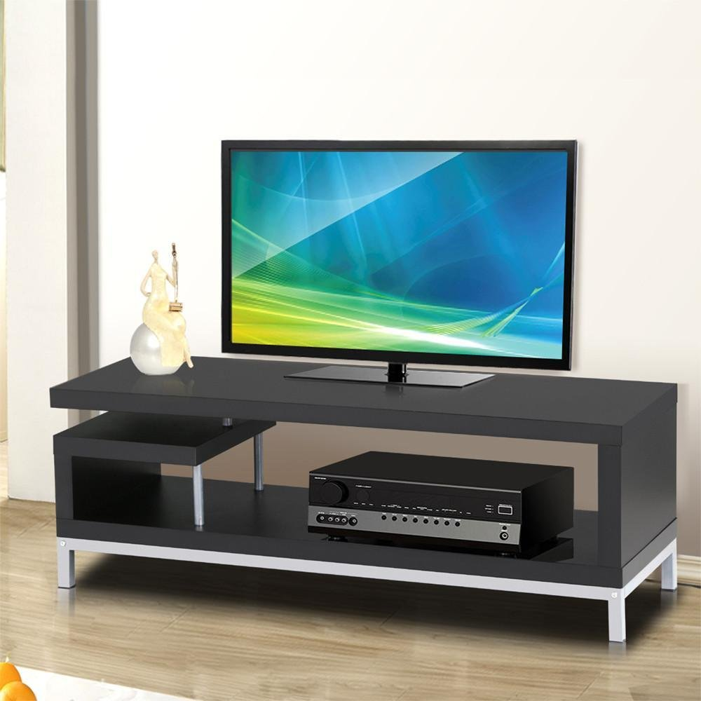 Yaheetech Black Wood TV Stand Console Table Home Entertainment Center Media Cabinets with Steel Leg for Flat Screens by Yaheetech (Image #7)