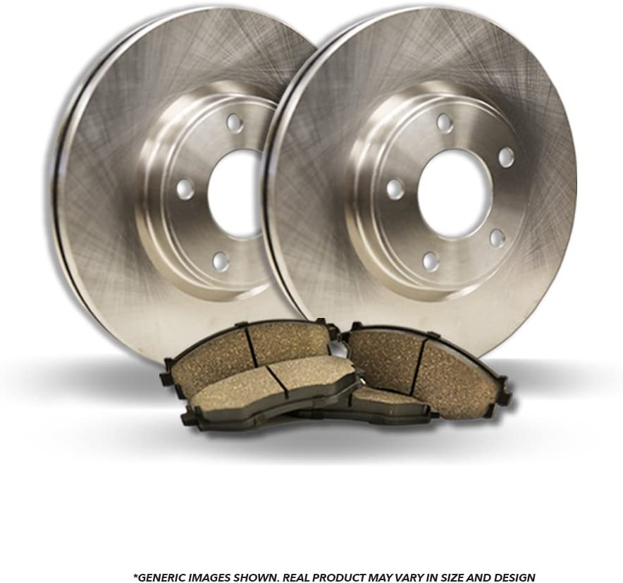 High-End Front Kit 2 OEM Replacement Disc Brake Rotors Fits:- 5lug 4 Ceramic Pads