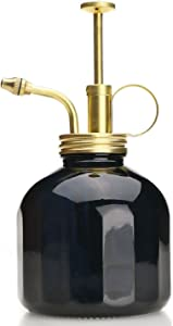 Purism Style Plant Mister- Black Color Glass Bottle & Brass Sprayer (Matt Gold)