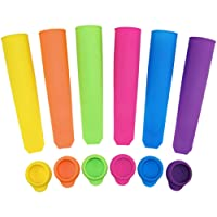 Ouddy Silicone Popsicle Molds Durable Ice Pop Molds Popsicle Maker, Assorted Color, Set of 6 with Lids