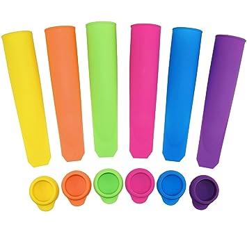 Moldes de silicona para hacer paletas de hielo Ouddy, moldes de palo durables, varios colores, juego de 6 con tapas: Amazon.es: Hogar