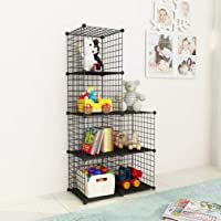 JOISCOPE Bookshelf with Multi-function Space-saving 6 Cubes Black Metal Organizer Wire Shelves Cubes Storage Portable…