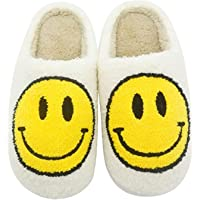 Smiley Face Slippers for Women - Fuzzy Smiley Slippers with Smile - Fluffy Happy Face Slides Home Slippers Slip-on…