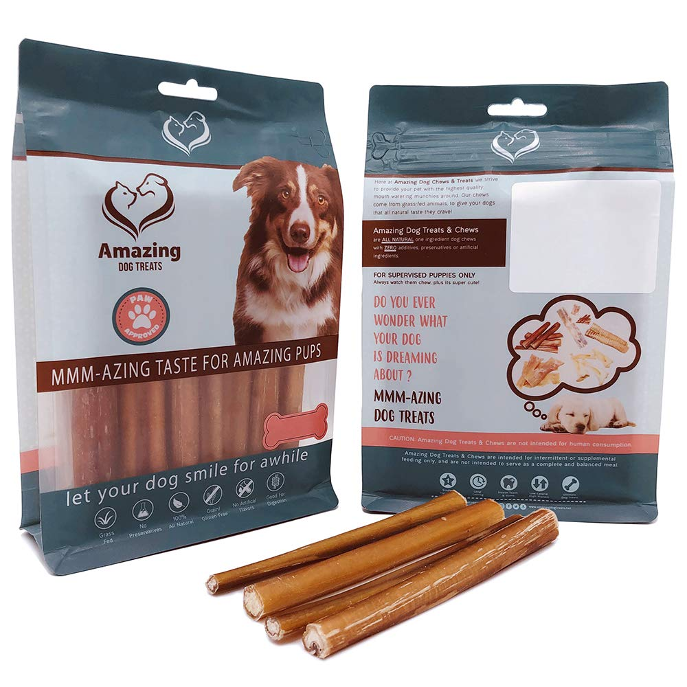 Amazing Dog Treats 6 Inch Steer Bully Sticks – Premium Dog Chews – All Natural Rawhide Alternative – Long Lasting Dog Treats – 100 Beef – Promotes Canine Dental Health