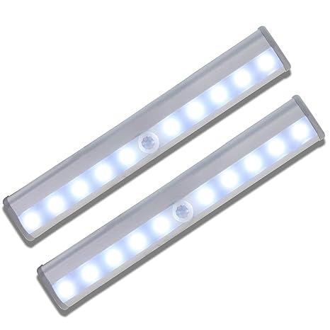 Barra de luz con 10 LED, magnéticas recargables con USB, con sistema de activación