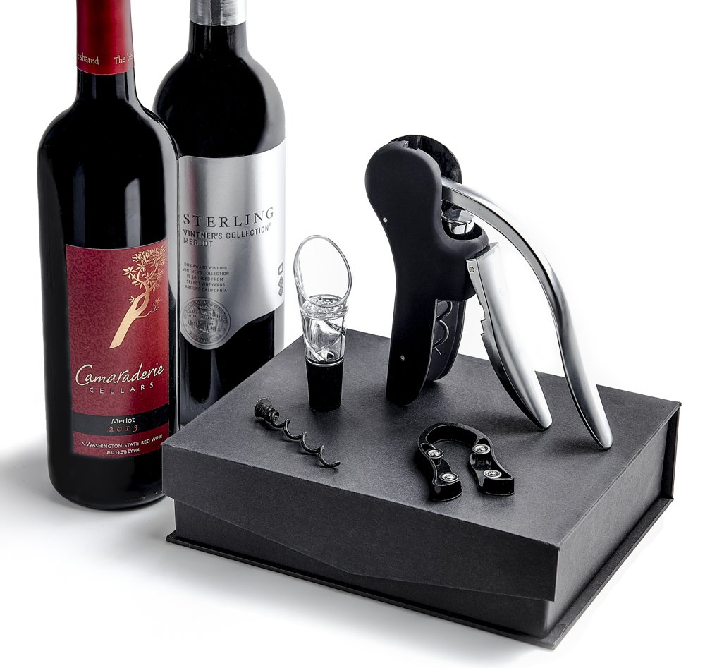 Wine Bottle Corkscrew Opener Set - Best Automatic Rabbit Level Style Opener With Bonus Aerator Decanter, Foil Cutter, Replacement and Gift Box by Palermo (Image #2)