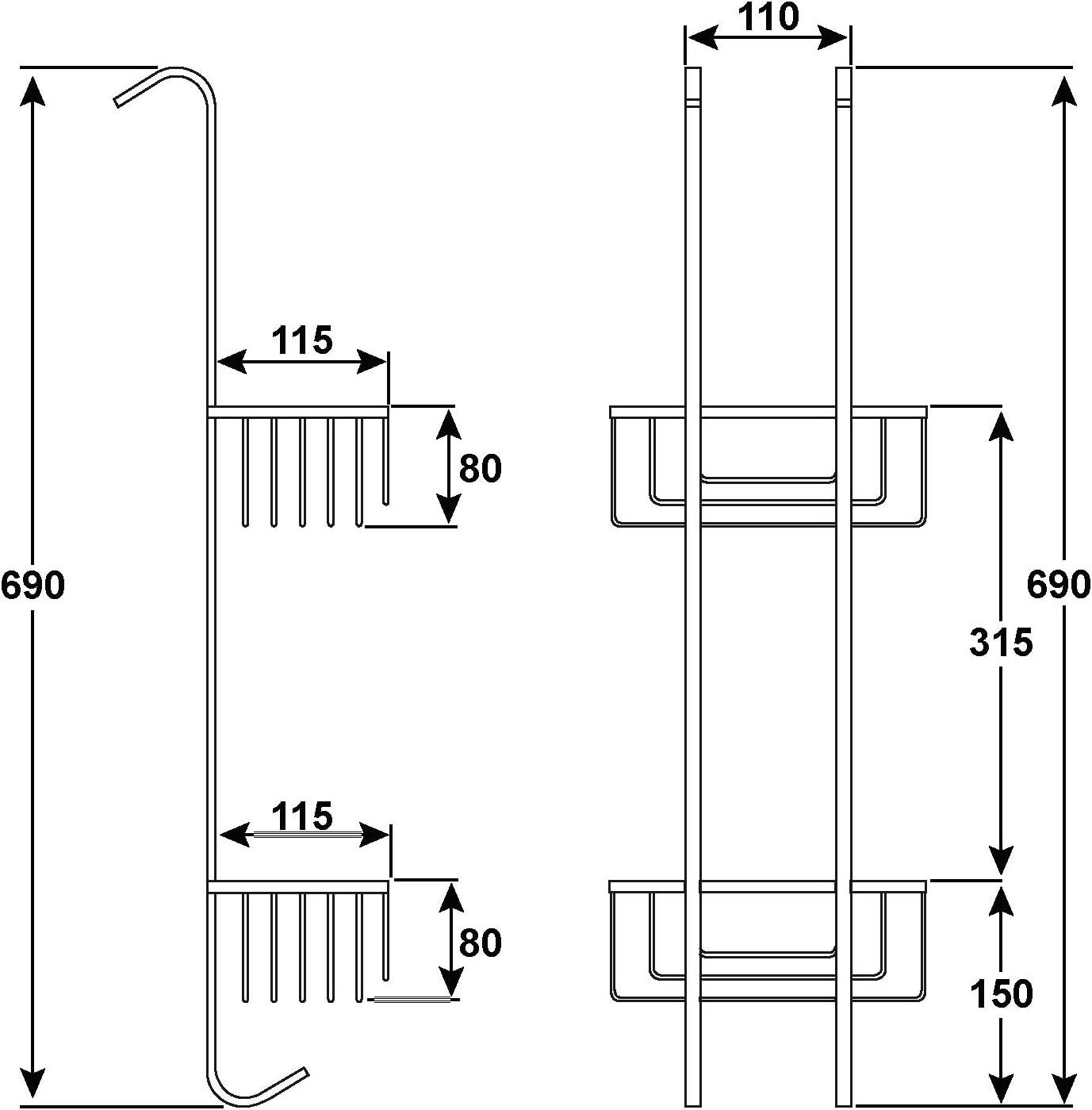 de cromo de acero inoxidable DMKO01 Estante de ducha Duschmeister con 2 cestas de almacenaje colgantes para champ/ú