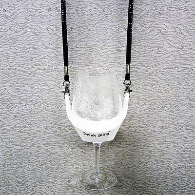 Drink Sling with Black Bling Lanyard with White Wine Glass Holder