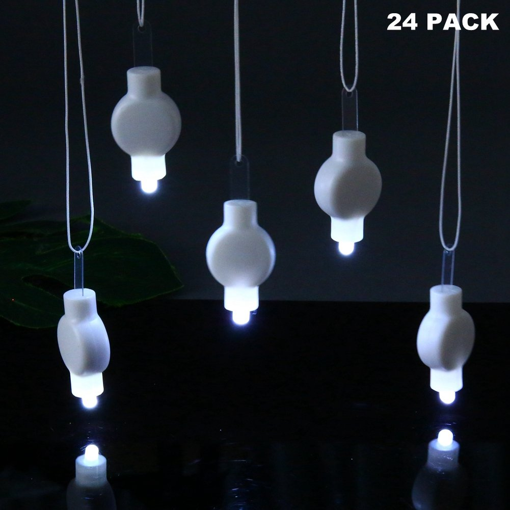 LOGUIDE Mini Party Lights Paper Lanterns - LED Lanterns Balloons White Lights Battery Operated,Floral Party,Eid Lights,Wedding,Outdoors Decoration 24 Pack (White)