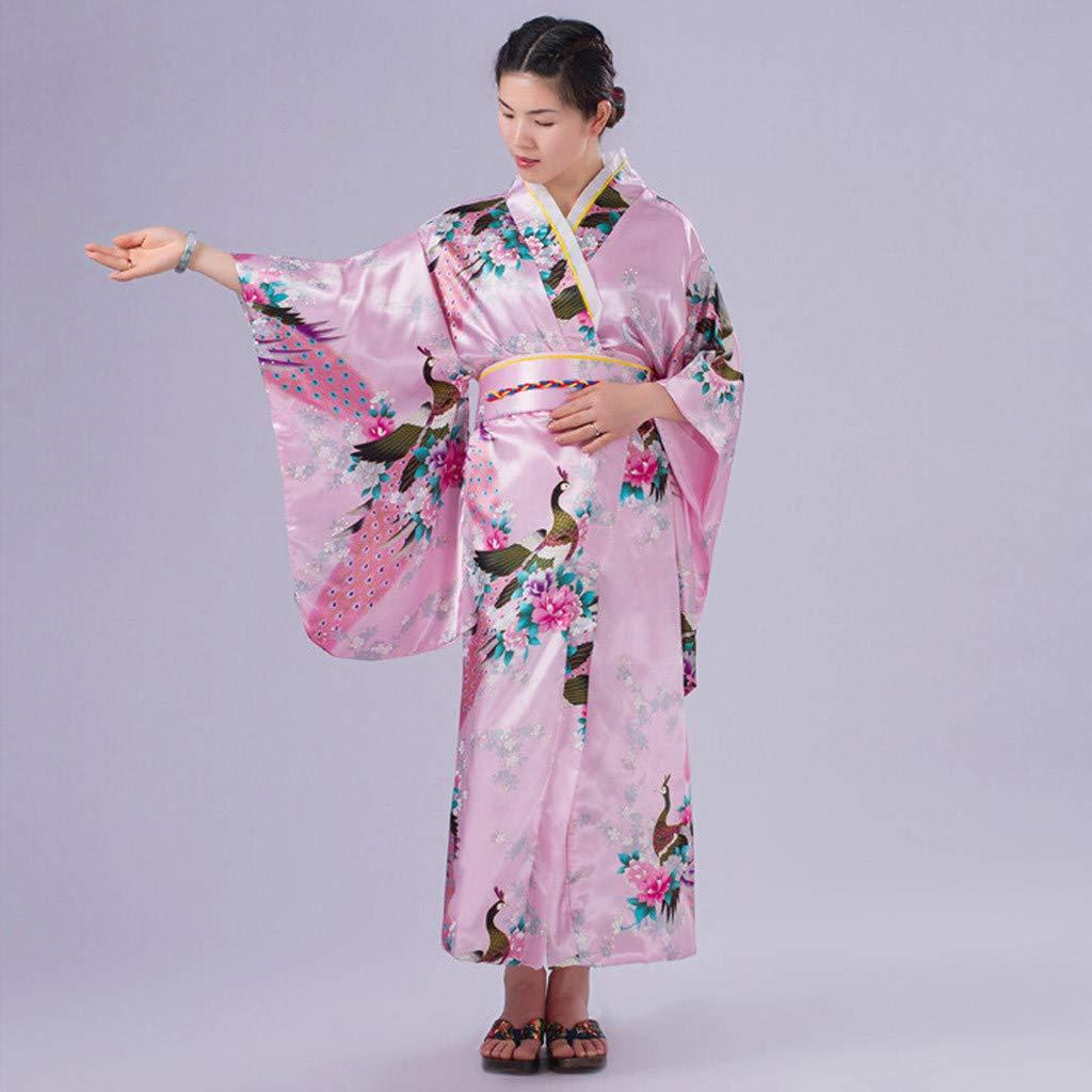 Ultramall Women's Print Kimono Robe Traditional Japanese Dress Photography Cosplay Costume(Pink,One Size) by Ultramall (Image #4)