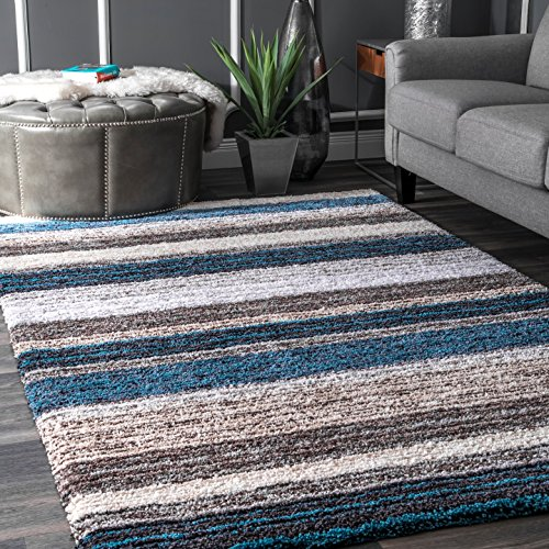 Brown Striped Rug - nuLOOM Classie Solid Shag Rug, 6' x 9', Blue Multi