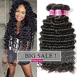 VRBest Brazilian Deep Wave 100% Unprocessed Virgin Brazilian Hair Bundles Deep Curly Human Hair Extensions Natural Color (10 12 14)