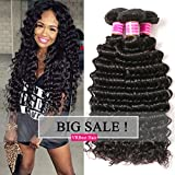 VRBest Brazilian Deep Wave 100% Unprocessed Virgin Brazilian Hair Bundles Deep Curly Human Hair Extensions Natural Color (10 12 14)