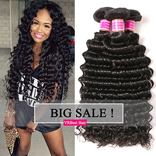 VRBest Brazilian Deep Wave 100% Unprocessed Virgin Brazilian Hair Bundles Deep Curly Human Hair Extensions Natural Color (10 12 14) by VRBest