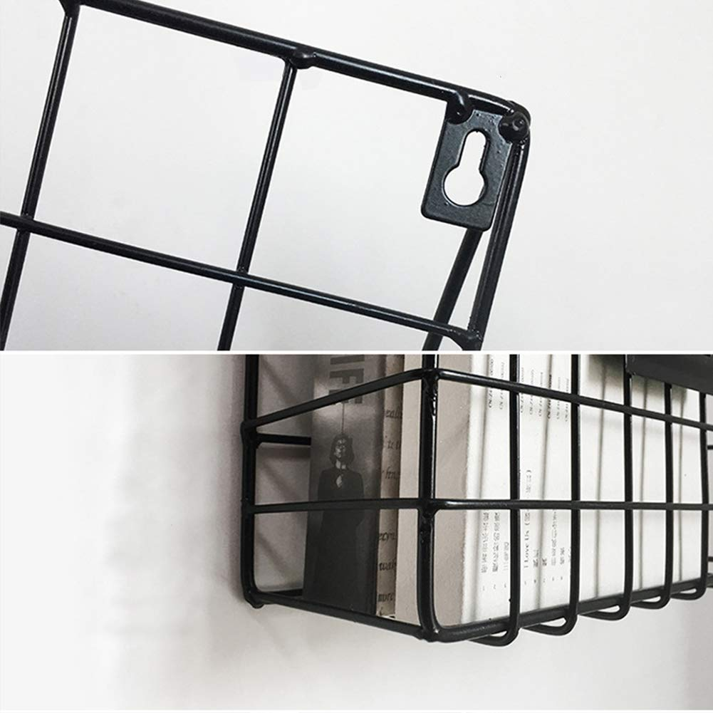 Lovt Wall Mounted Rustic Metal Wire Magazine Storage/Organizer Basket Rack,Wrought Iron Bookshelf Magazine Rack Storage Basket Hanging Shelf (Black) by Lovt (Image #2)