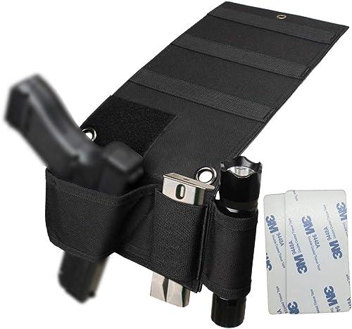 Hochoek Adjustable Universal Versatile Gun Holster,Under Mattress Bedside Seat Vehicle Car Pistol Holder with Magazine Flashlight Loop Pouch & Versatile...