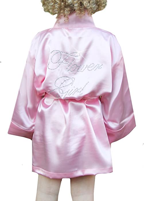fd259311d2d Amazon.com  Classy Bride Rhinestone Satin Flower Girl Robe - Pink ...