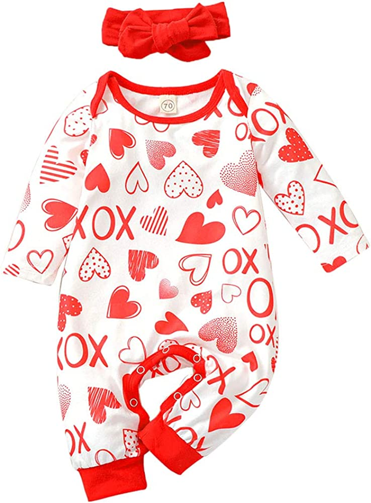 Newborn Baby Girls Valentine's Day Romper Jumpsuit Long Sleeve Love Heart Print One Piece Bodysuit+Headband Outfit