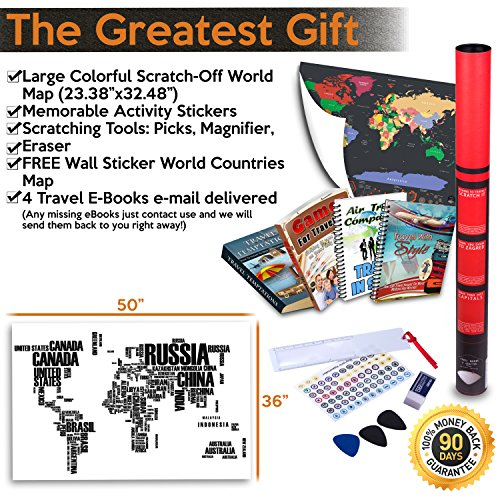 Scratch Off World Map By Amazmap: Travel Poster With Memory Activity Stickers, Detailed Map With USA, Canada And Australia Outlines –With Scratching Tool, Eraser, Magnifier And E-Books Photo #6