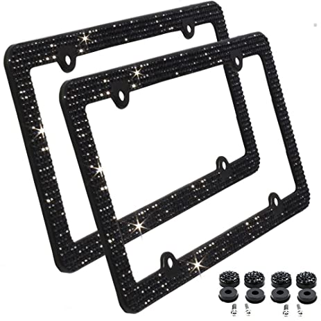 Amazon.com: Rhinestone License Plate Frame, EEEKit 2 packs 4 Holes ...