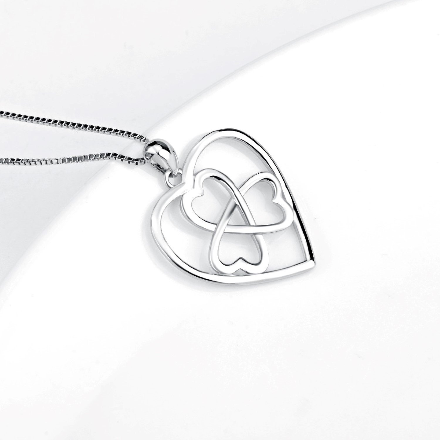 CS-DB Womens Necklaces by Silver Pendant Love Heart knot Charm Girls