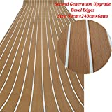 yuanjiasheng Second Generation Upgrade EVA Faux Teak Decking Sheet For Boat Yacht Non-Slip 94.5''× 35.4'' Bevel Edges (light brown with white lines)