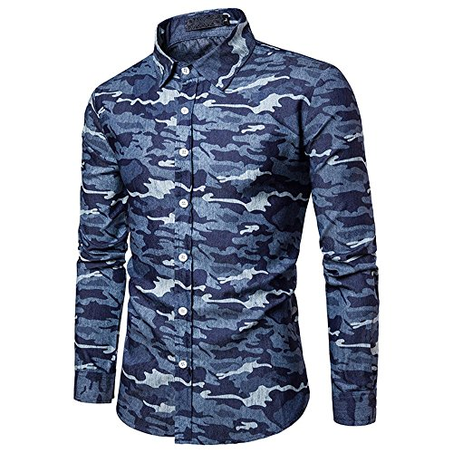 Shirts For Men, HOT SALE !! Farjing Men's Autumn Casual Camouflage Military Slim Fit Long Sleeve Shirt Top Blouse(2XL,Dark Blue) by Farjing