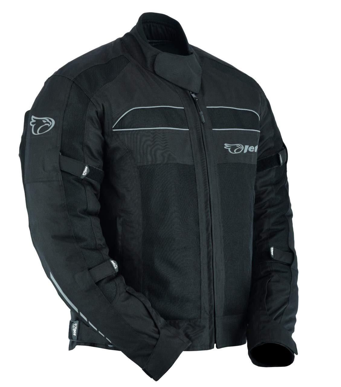 Noir, 2XL EU 54-56 JET Blouson Moto Veste /Ét/é avec Armure de Mailles Air Flow Colt