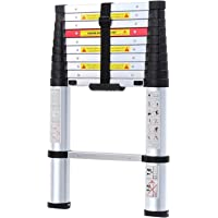 WolfWise 10.5FT Aluminum Telescoping Ladder with One-Button Retraction System, Telescopic Extension Ladder Multi-Position