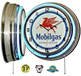 MOBIL ONE MOBILGAS FLYING PEGASUS 18'' DUAL NEON LIGHT WALL CLOCK GASOLINE GAS FUEL PUMP OIL SIGN BLUE