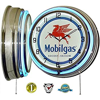 MOBIL ONE MOBILGAS FLYING PEGASUS 18 DUAL NEON LIGHT WALL CLOCK