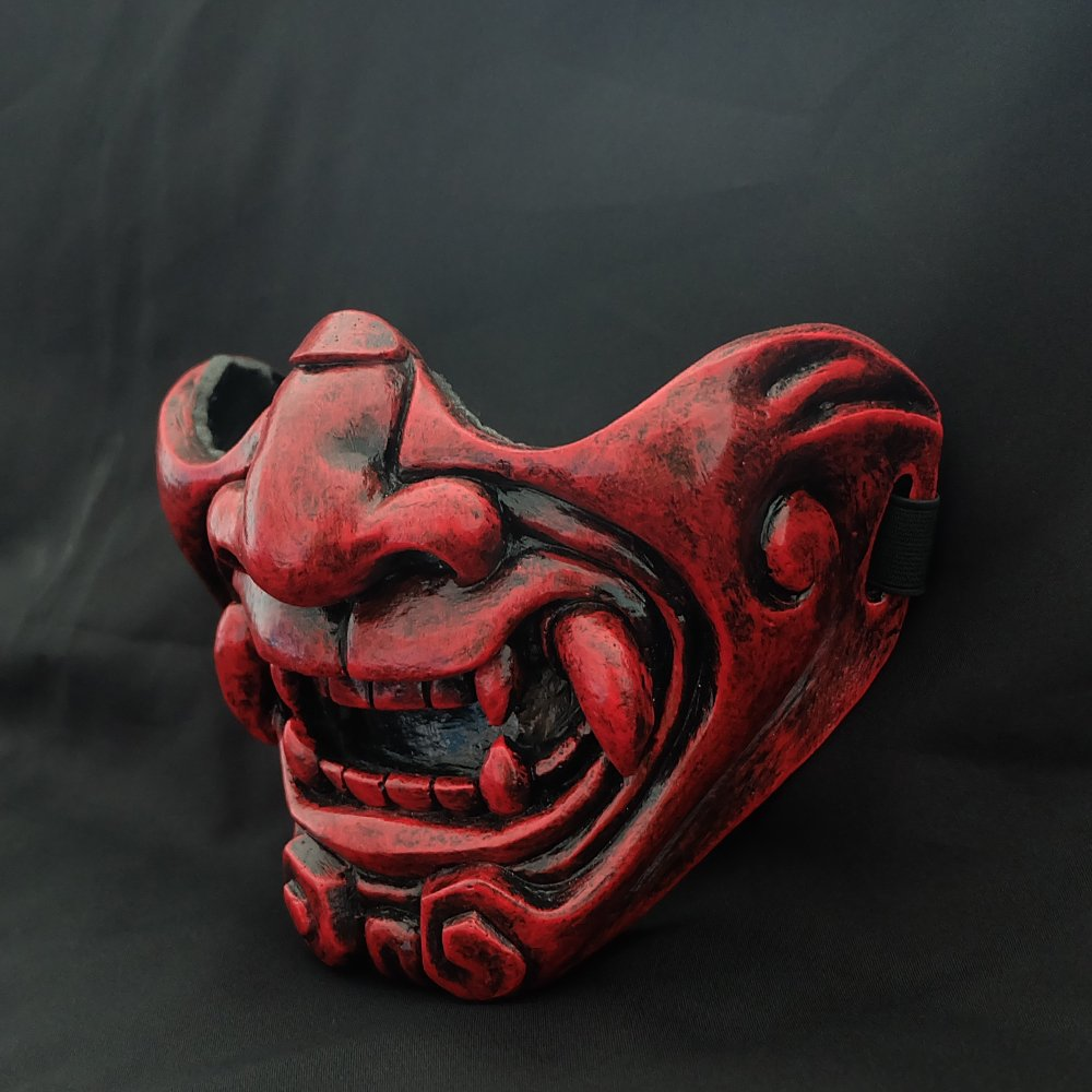 tripple_777 Custom Halloween Costume Cosplay BB Gun Kabuki Samurai Evil Demon Oni Airsoft Mask red MA228 by tripple_777