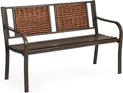 Giantex Patio Garden Bench Heavy-Duty Ergonomic Loveseat W/Powder Coated Steel Frame,Decorative Rattan Backrest & Curved Armrest for Outdoor Garden, Backyard, Lawn, Porch, Path Park Bench