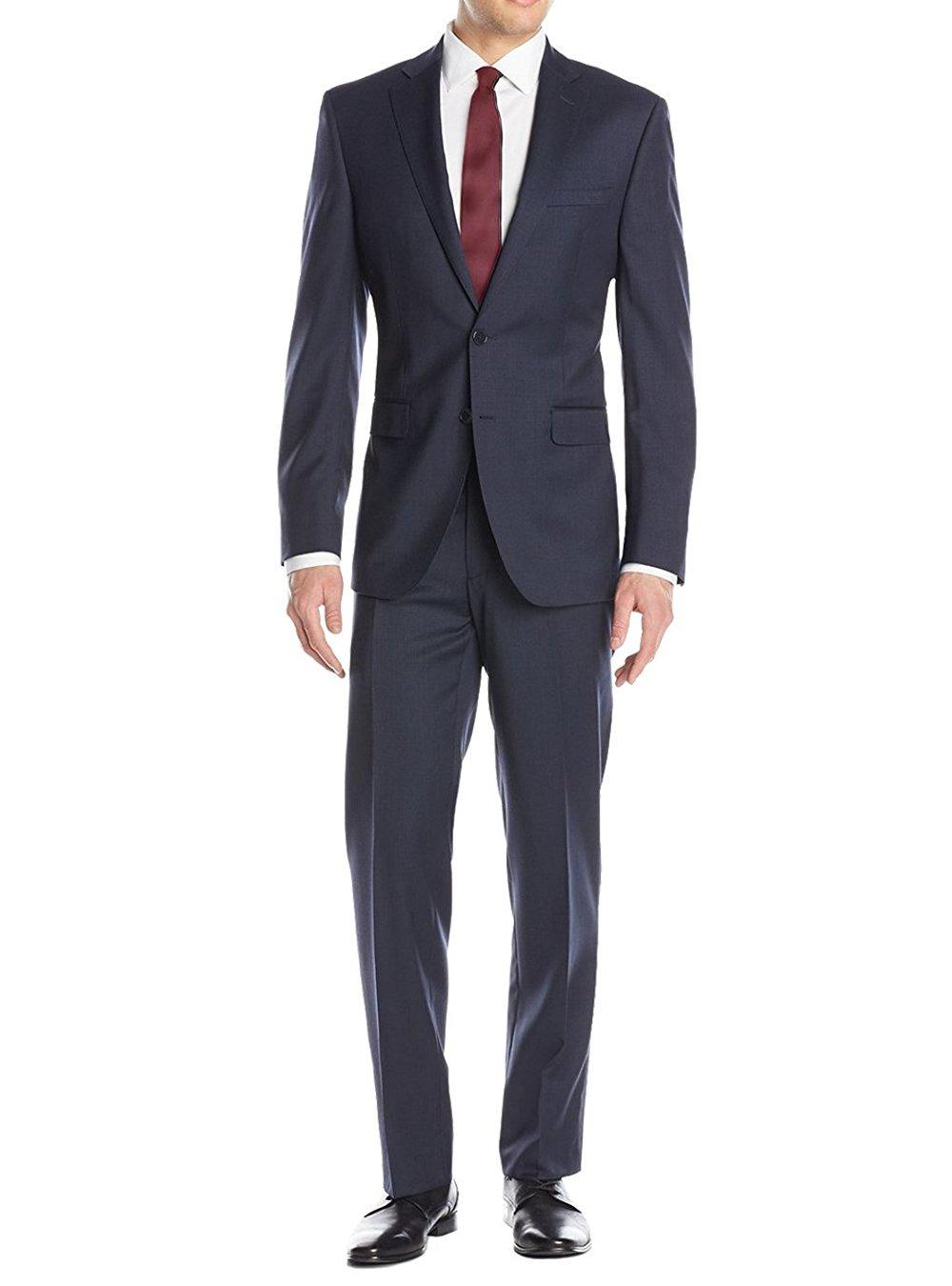 Luciano Natazzi Men's Birdseye Suit 2 Button Modern Fit Jacket Flat Front Pant (52 Regular US / 62R EU / W 46'', french blue)