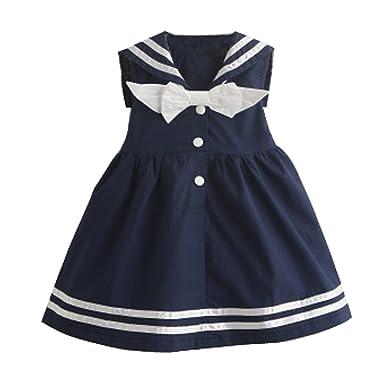 696feff81f6e8 Baby Girls Toddler Little Kids Summer Sleeveless Sailor Dress Navy Sundress  Cotton for 1-3 Years