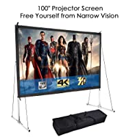 Deals on 100-inch Portable Fast Folding Projector Screen w/Stand