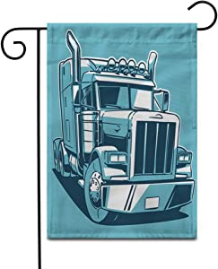 """Awowee 12""""x18"""" Garden Flag Trailer Classic American Truck Cartoon Duotone Semi Big Tractor Outdoor Home Decor Double Sided Yard Flags Banner for Patio Lawn"""