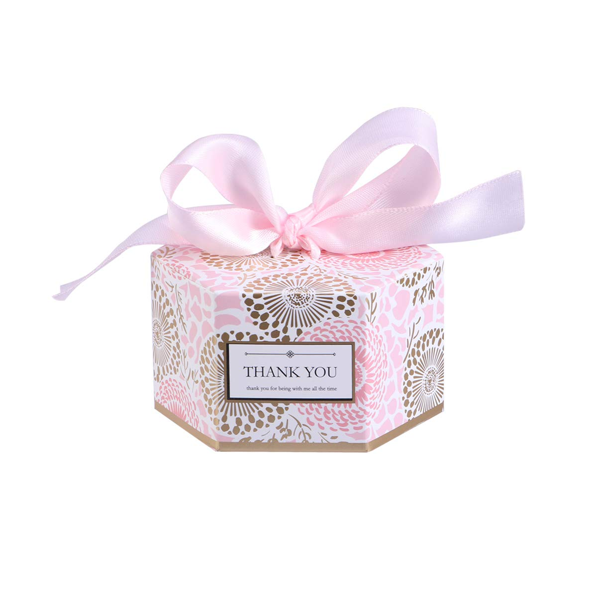 Tendycoco 20pcs Candy Boxes Hexagonal Gift Boxes With Ribbon Decent