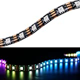 Mokungit WS2813 LED Strip WS2813(Upgraded WS2812B) Dual Signal Wires Individually Addressable Dream Color 5050 RGB Flexible Strip Light 16.4ft 300 LEDs Black PCB Waterproof IP65 DC5V